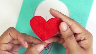 Felt Heart Greeting Card: Easy Stitch DIY Ideas By HandiWorks
