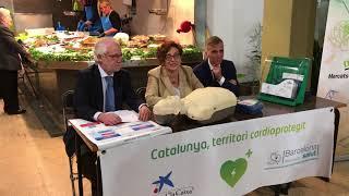 Es signa l'acord entre la Fundació Barcelona Salut i l'Ajuntament de Barcelona per completar la implantació de desfibril·ladors als mercats municipals