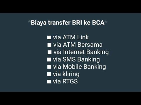 Biaya transfer BRI ke BCA