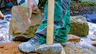 PREPARING NATURAL STONE FOR WALL BUILD | SHAPING SANDSTONE SQUARE ROCK CARVING PROCESSING BY HAND