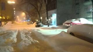 Snow Storm Blizzard 2016 New York City ( NYC) Glimpse of Manhattan Upper East Side