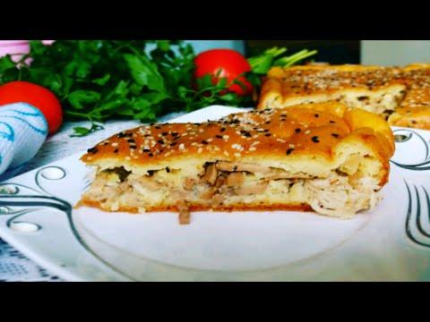 Заливной пирог с курицей и грибами Chicken and mushroom pie