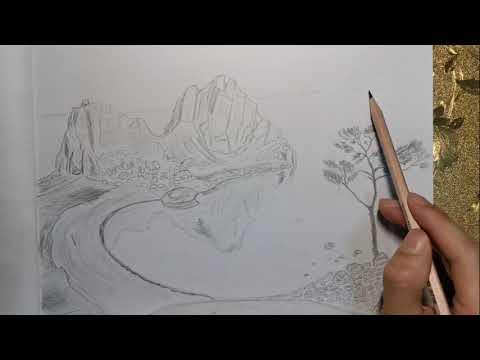 How to draw lake Baikal. Как нарисовать озеро Байкал