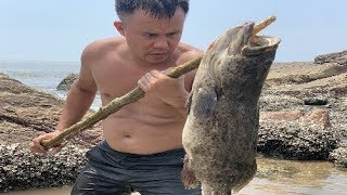 Survival Skills Catch Giant Grouper Fish And Eat Delicious Sea Fish