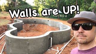 The concrete walls for our inground swimming pool are installed! | How to build a swimming pool.