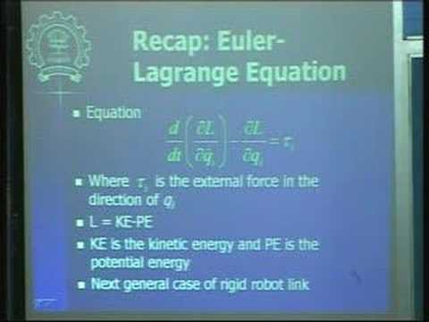 Lecture - 31 Robot Dynamics and Control