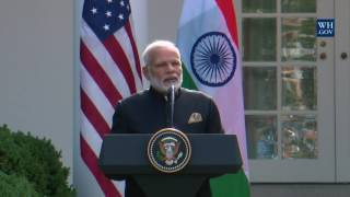 President Trump Gives Joint Statements with Prime Minister Modi