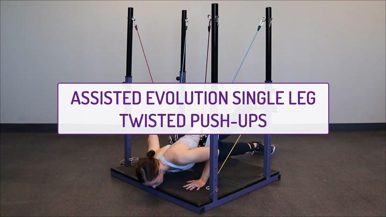 Assisted Evolution Single-Leg Twisted Push-Ups