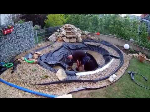 Gartenteich mit Bach / Wasserfall anlegen bauen HD Video