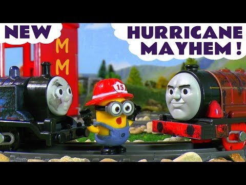Thomas & Friends Steelworks Hurricane causes Minions Trouble at McDonalds Toy Trains Story TT4U