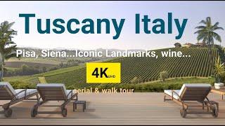 Tuscany Italy 4K UHD   Pisa, Siena, San Gimignano… in Tuscany Italy   Both Aerial and Walk Tours