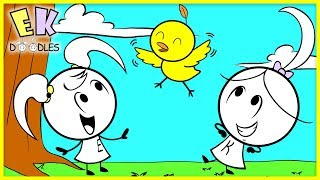 Baby Bird Learns to Fly with EK Doodles Emma & Kate's help !