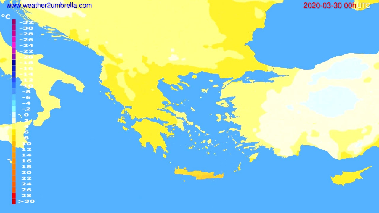 Temperature forecast Greece // modelrun: 00h UTC 2020-03-29