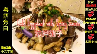 28 [EngSub粵語旁白] Cold Eggplant with Spicy Sauce/Easy Simple Tasty Cold Dish for Summer/大家見吓面煮夏日涼拌茄子