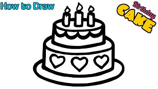 Glitter Birthday Cake Butterfly drawing, coloring and painting   Art Ideas for kids