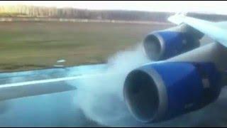 ✈ Посадка самолета при сильном боковом ветре, Landing  in a storm Moscow а/п Домодедово, Boeing 747,