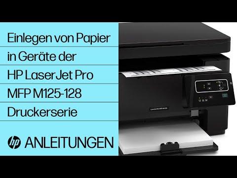 Einlegen von Papier in Geräte der HP LaserJet Pro MFP M125-128 Druckerserie