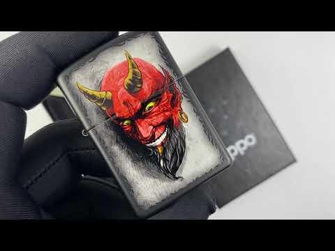 28862 Зажигалка Zippo Tattoo Red Devil Horns, Black Matte