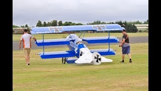 """""""SHORTEST TAKE OFF EVER"""" WITH MASSIVE 65% SCALE RC FOKKER DR1 TRIPLANE - LMA RAF COSFORD - 2017"""