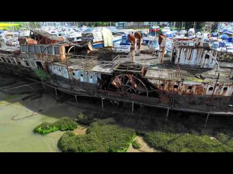 PS Ryde Queen on the River Medina - Drone Video April 2017