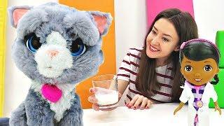 Доктор Плюшева и Кошка готовятся к выставке. Видео для девочек.