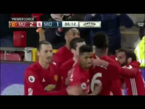Paul Pogba goal man united vs middlesbrough 2-1 31/12/2016