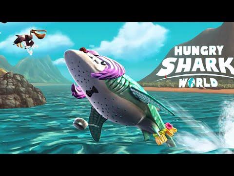 Hungry Shark World - Megalodon vs Gold Blue Whale - смотреть