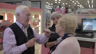 84 Year Old Husband Learns Make-Up Tips For Blind Wife