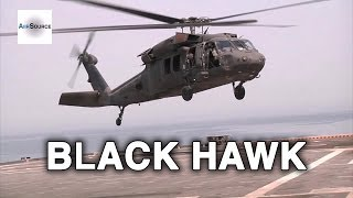 Black Hawk Helicopter Flying over Kuwait Desert and the Arabian Gulf