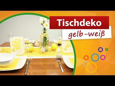 ♥ Tischdeko gelb weiß ♥ Tischdekoration - trendmarkt24