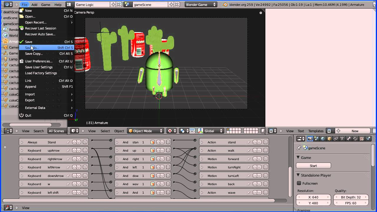Blender Game Engine Tutorial - Making a Stand Alone Game Part 1 Save As Game Engine Runtime