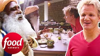 Indian Guru Tries To Convince Gordon Ramsay To Be Vegetarian | Gordons Great Escape