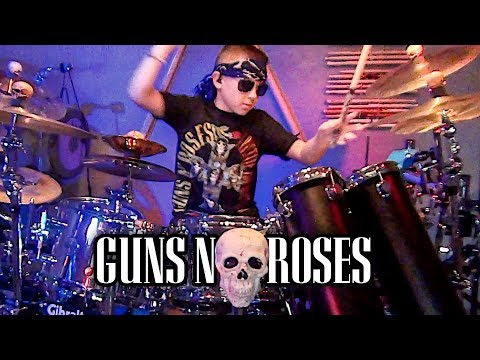 Appetite for Destruction in 7 mins (10 year old Drummer) drum cover by Avery Drummer Molek
