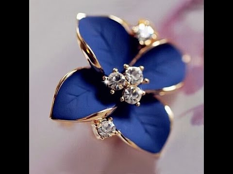 Blue flower ladies gold plated rhinestone earrings UNBOXING ALIEXPRESS REVIEW