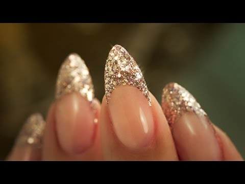 French Almond Glitter - Traditional French Acrylic Nail Technique - Step By Step Tutorial