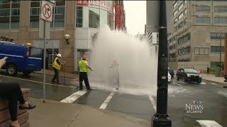 Halifax Water worker caught in the middle of hydrant deluge
