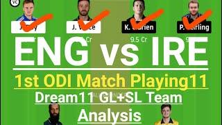 ENG Vs IRE Dream11,Eng Vs Ireland 2020, England Vs Ireland 1st Odi Playing11