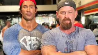 Mike O'Hearn and Actor Max Martini  throwing down a Epic tricep workout Part 1