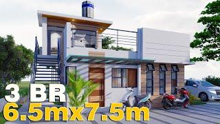 Bungalow House W/ Deck DESIGN 6.5x7.5m (98 SQM) W/ 3 Bedrooms