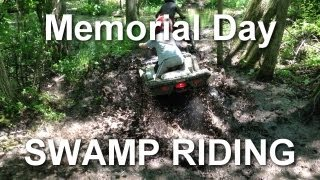 Kids Riding ATVs in the Muddy Swamp - Memorial Day 2013