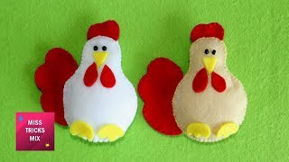 DIY : How To Make A Cute Felt Chicken Easter Ornament / Easter Crafts - Kids Crafts