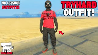 GTA 5 ONLINE EASY RED AND BLACK JOGGERS RIPPED SHIRT GLITCH TRYHARD MODDED OUTFIT 1.51 (NO TRANSFER)