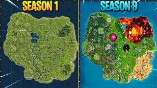 Evolution of Fortnite Map (Season 1 - Season 9)