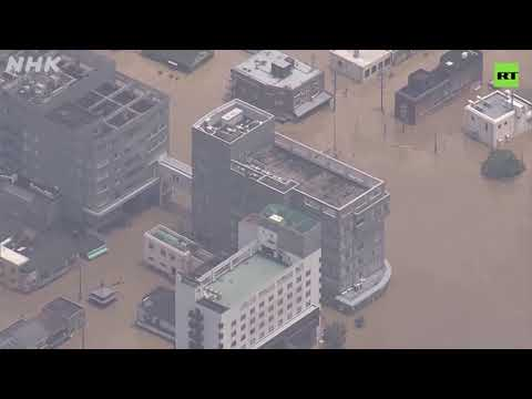 Heavy rain triggers mudslides & floods in Japan