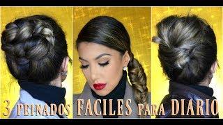 3 peinados FACILES para DIARIO👑 / 3 EASY everyday hairstyles tutorial  auroramakeup