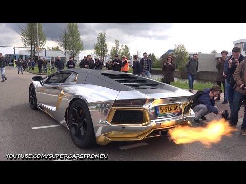 'Siêu bò' Lamborghini Aventador khạc lửa