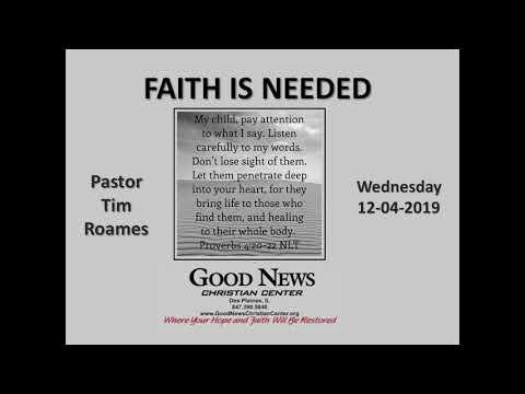 Wednesday 12/04/2019 FAITH IS NEEDED  - Pastor Tim Roames