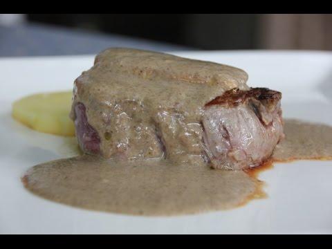 Solomillo con salsa de setas a la reducción de Pedro Ximénez