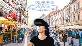 Панорамное Видео 360 VR 4K для очков виртуальной реальности. Москва, Арбат