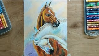 Painting A Horse In Oil Pastels | Horse Animal Paintings For Beginners  Step By Step